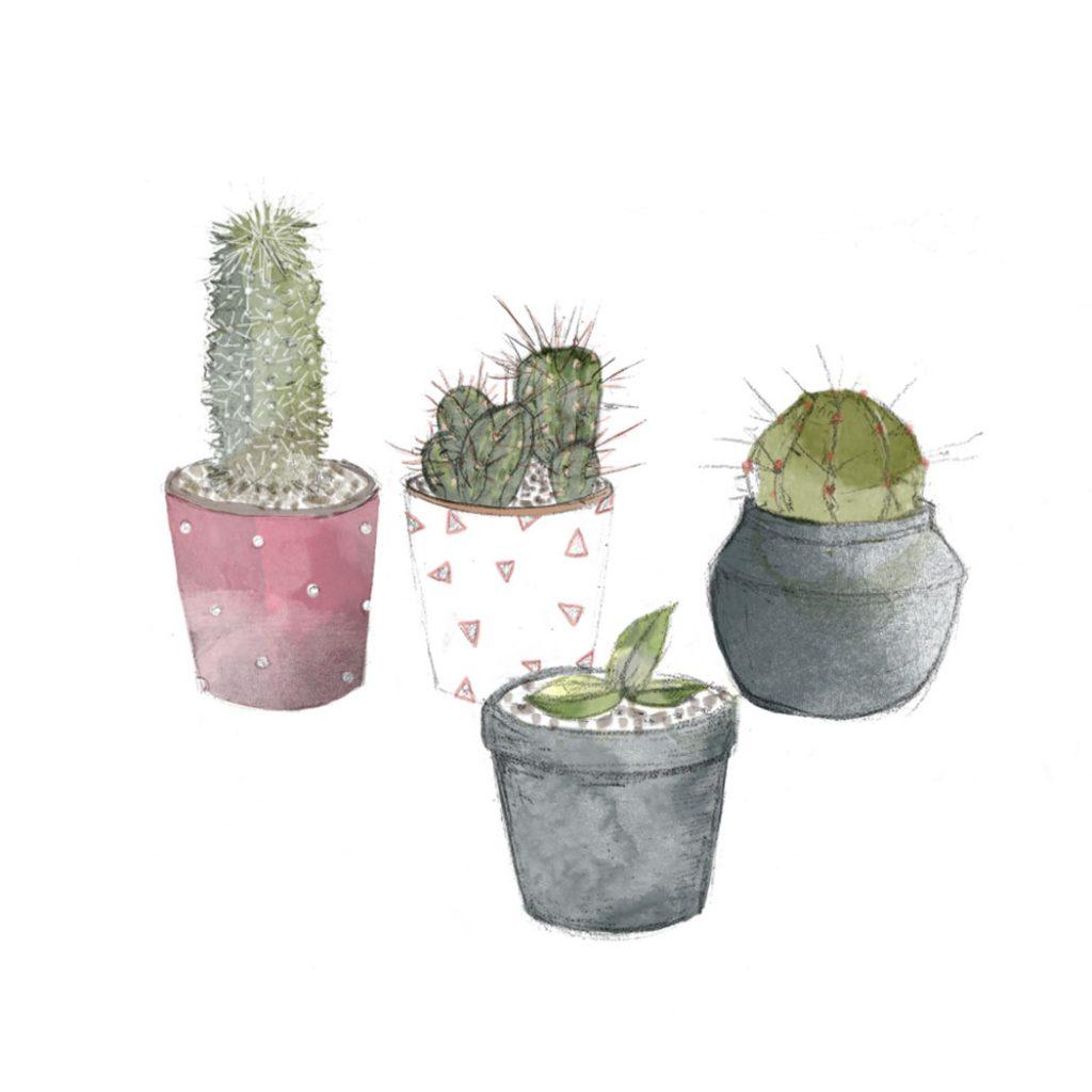 ilustración de unos cactus