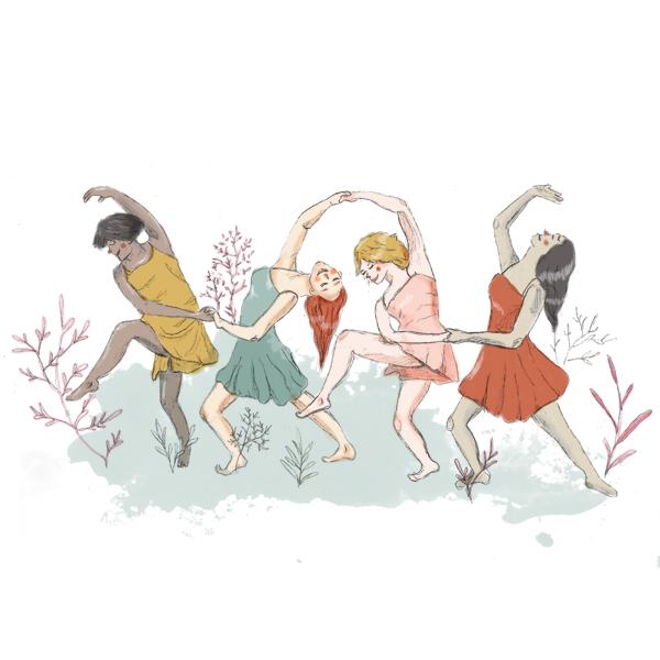 Akelarre, mujeres bailando juntas sobre plantas